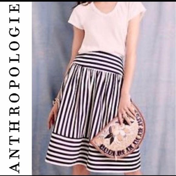 Anthropologie Dresses & Skirts - Anthropologie Maeve Navy White midi skirt